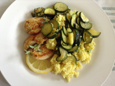 Gluten free cous cous and spicy courgettes