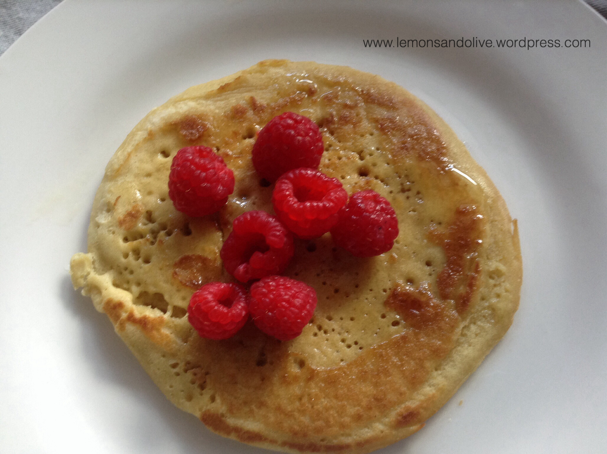 Gluten-free millet pancakes with raspberries