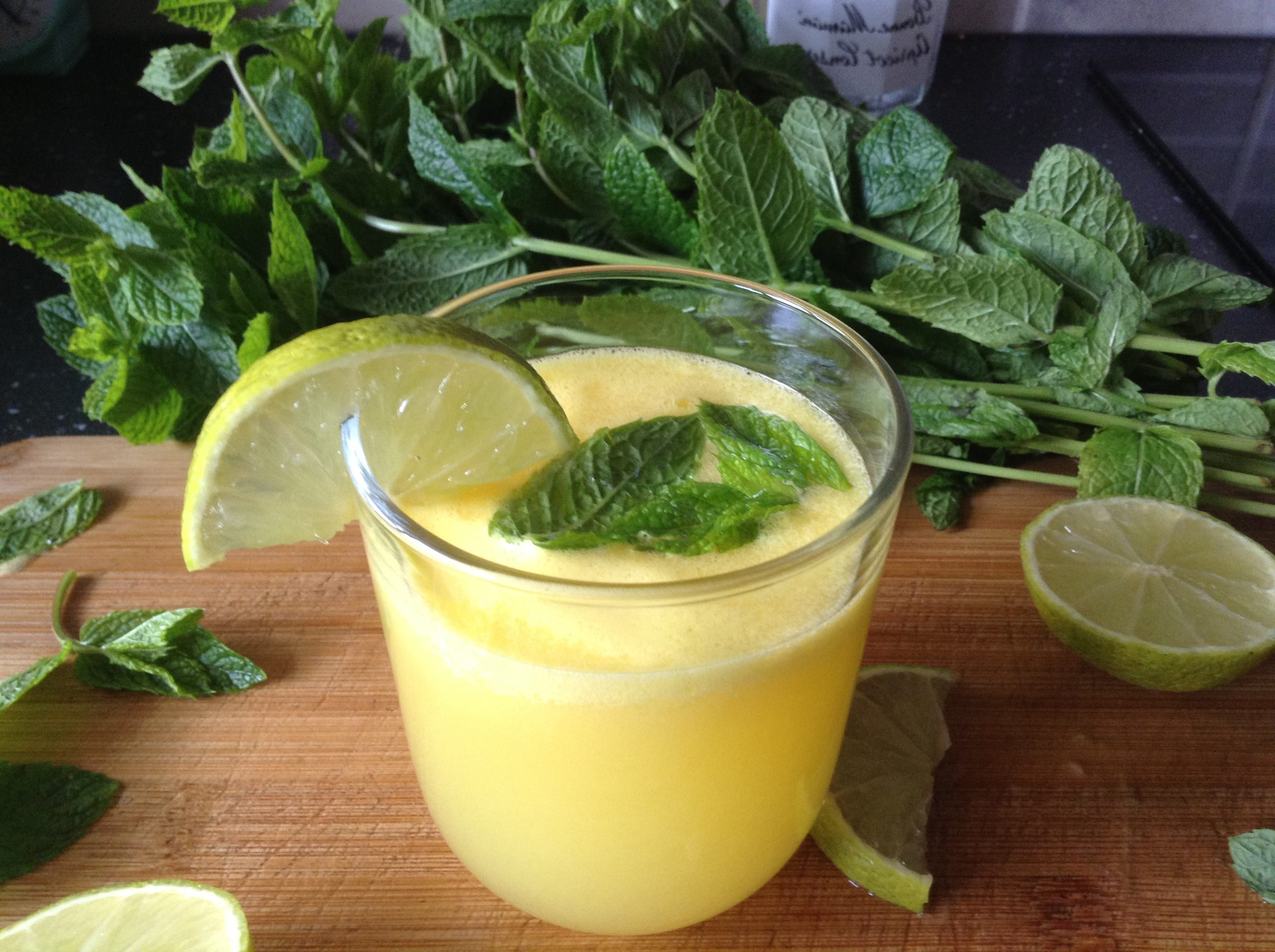 Pineapple, ginger, lime & mint drink