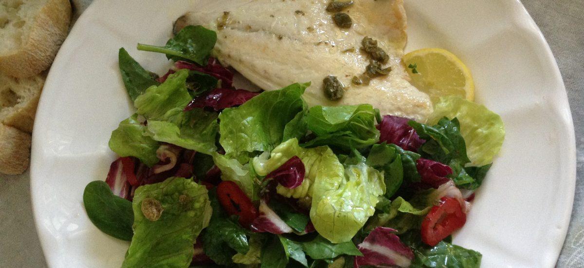 Sea bream with capers vinagrette & Italian rainbow salad