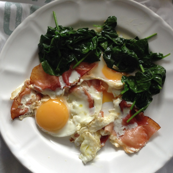 Serrano ham and spinach breakfast eggs