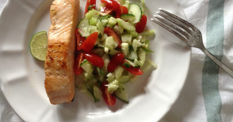 "Salmon with lime and chili ""salsa"""