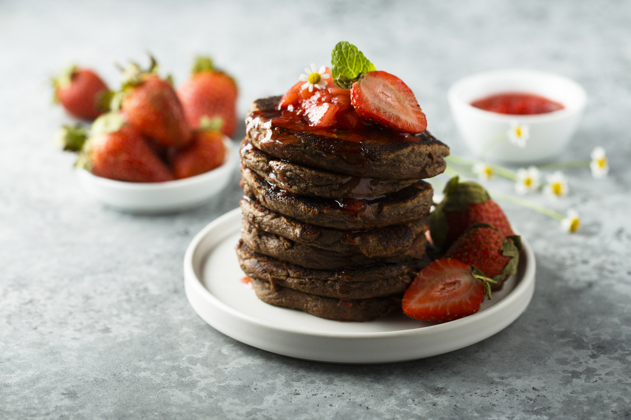 Buckwheat & banana chocolate pancakes (gluten-free, dairy-free, nuts-free)