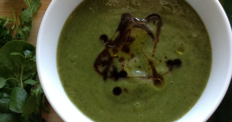 Courgettes, watercress & rocket soup