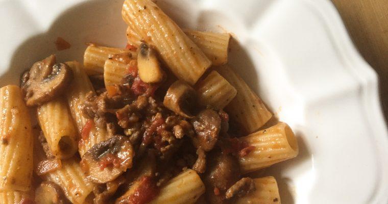 "Healthier ragu ""Bolognese"" pasta with mushrooms"