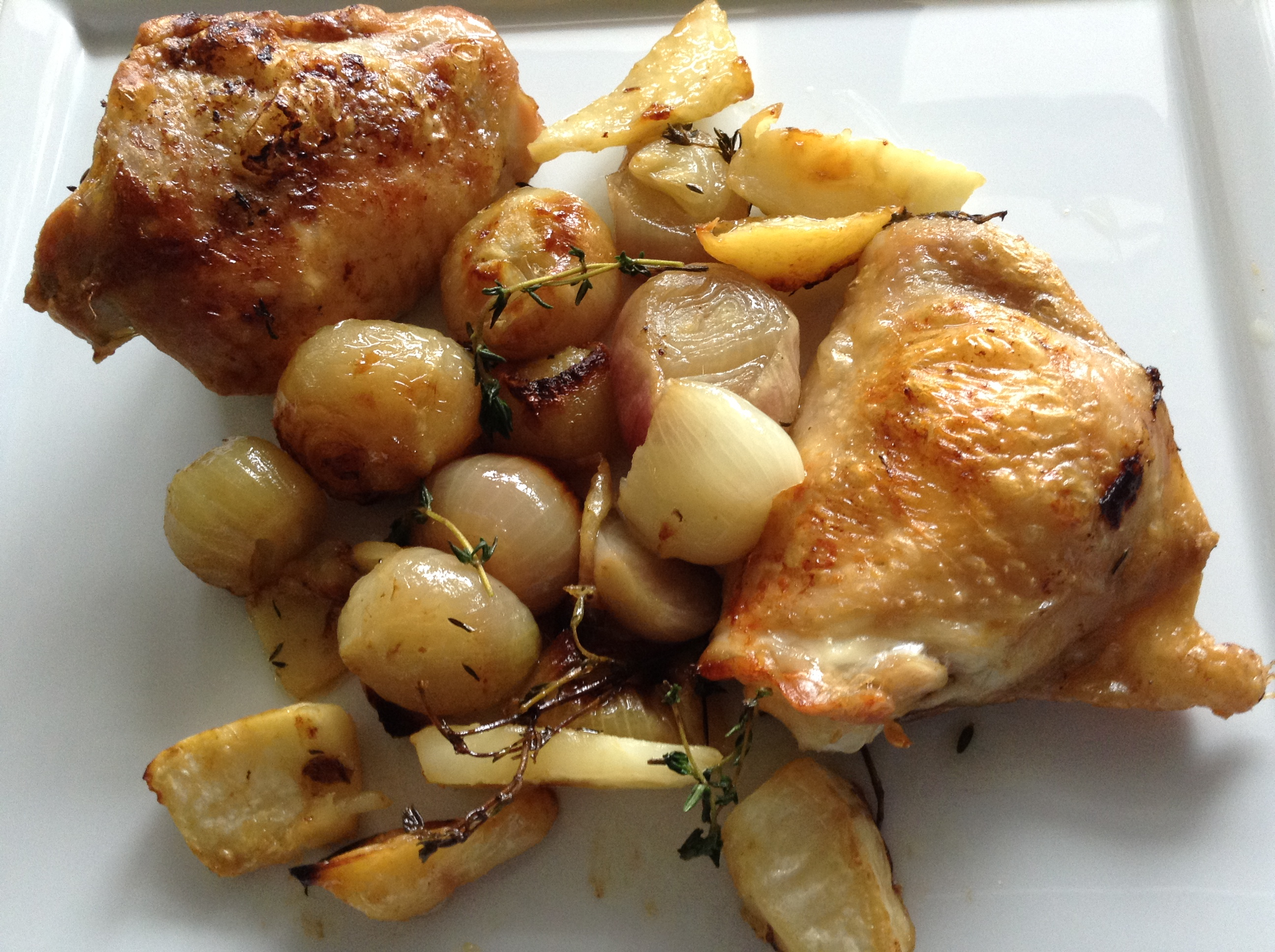 Thyme and shallots roast chicken with celeriac chips