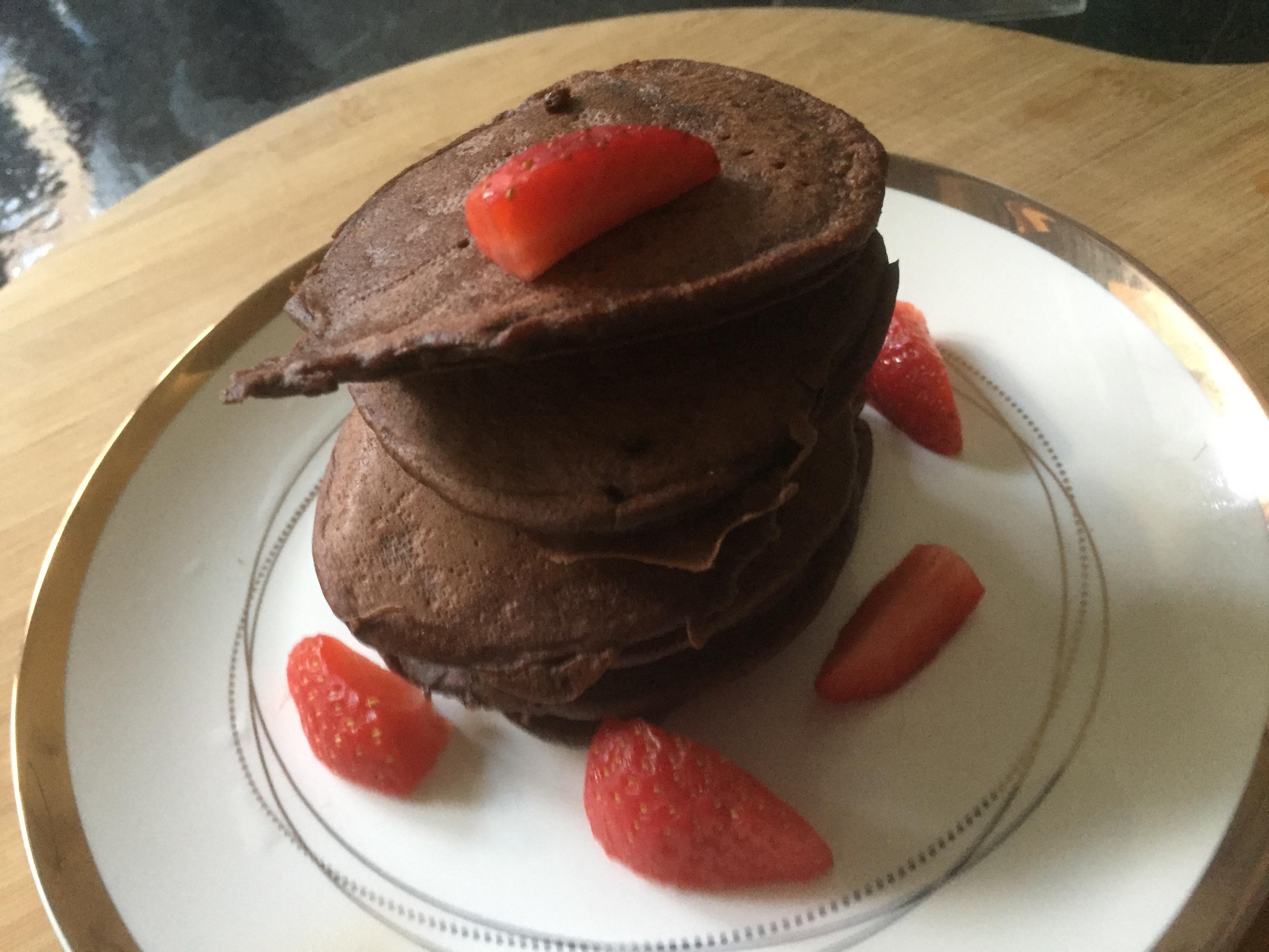 Buckwheat & banana chocolate pancakes (gluten-free, dairy-free)