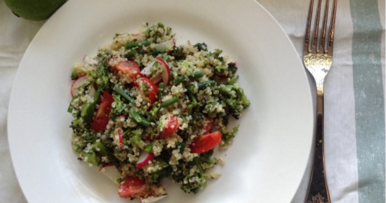 Purple sprouts, green beans and radish quinoa salad