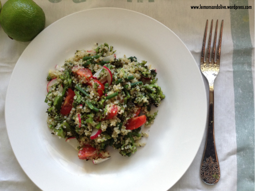 Purple & green quinoa salad