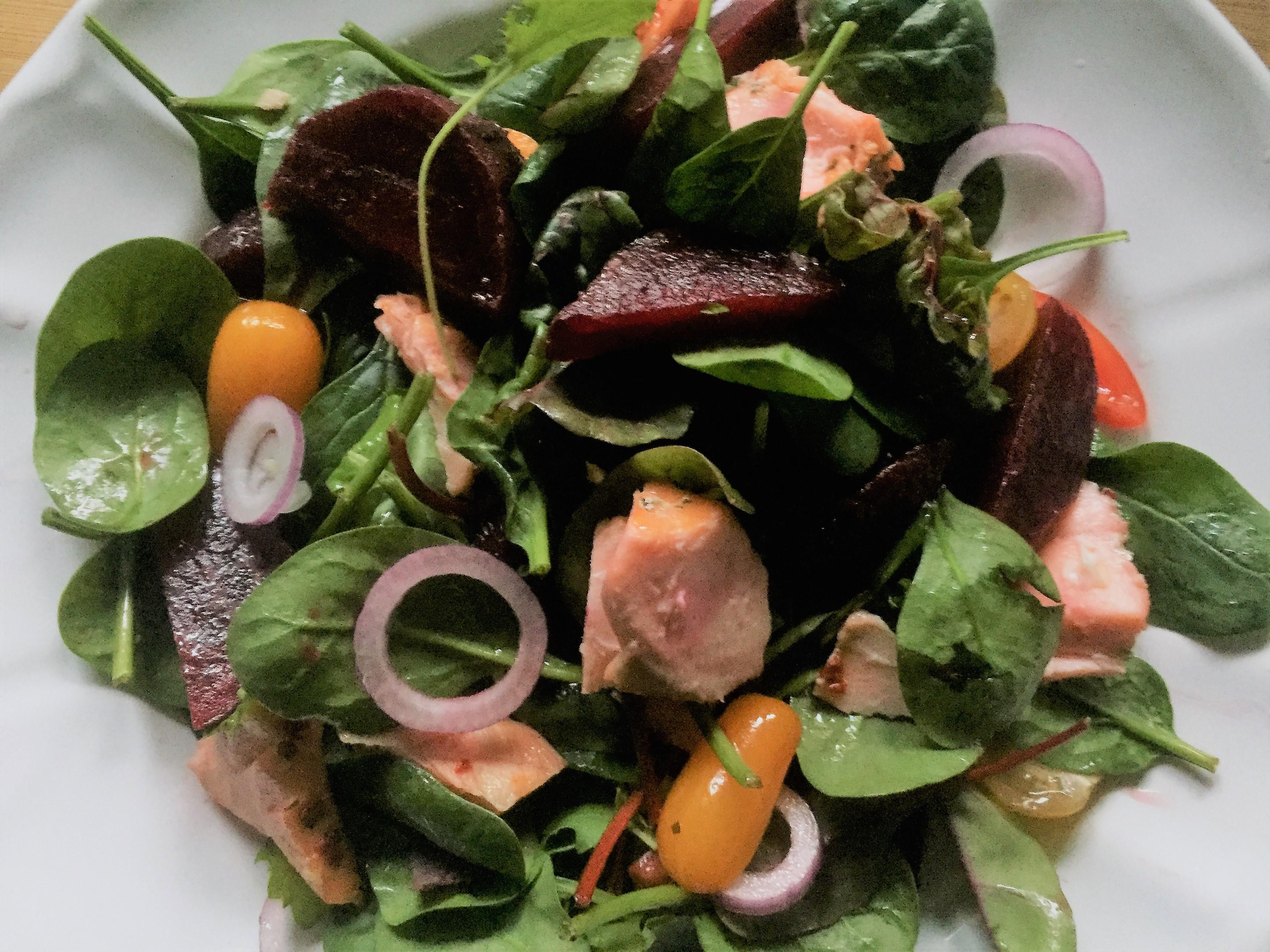 Salmon, chard, beetroot & heritage tomatoes salad.