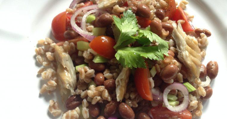 Mackerel, celery, borlotti beans & spelt (farro) salad