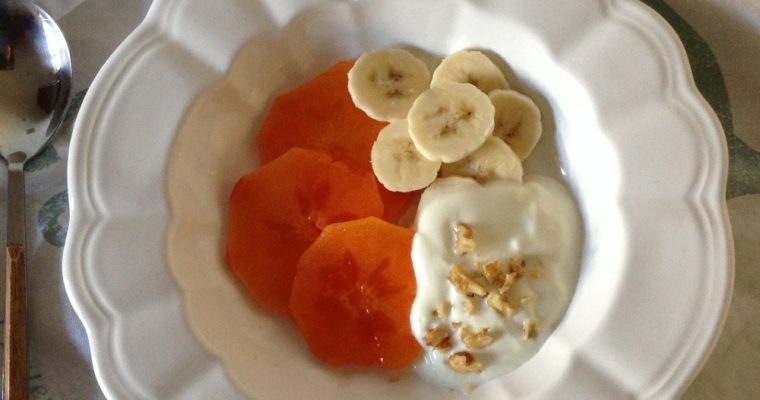 Persimmon, walnuts & banana breakfast bowl