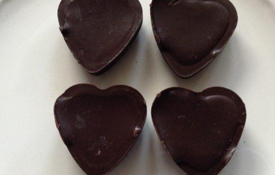 Raw chocolate & goji berries hearts