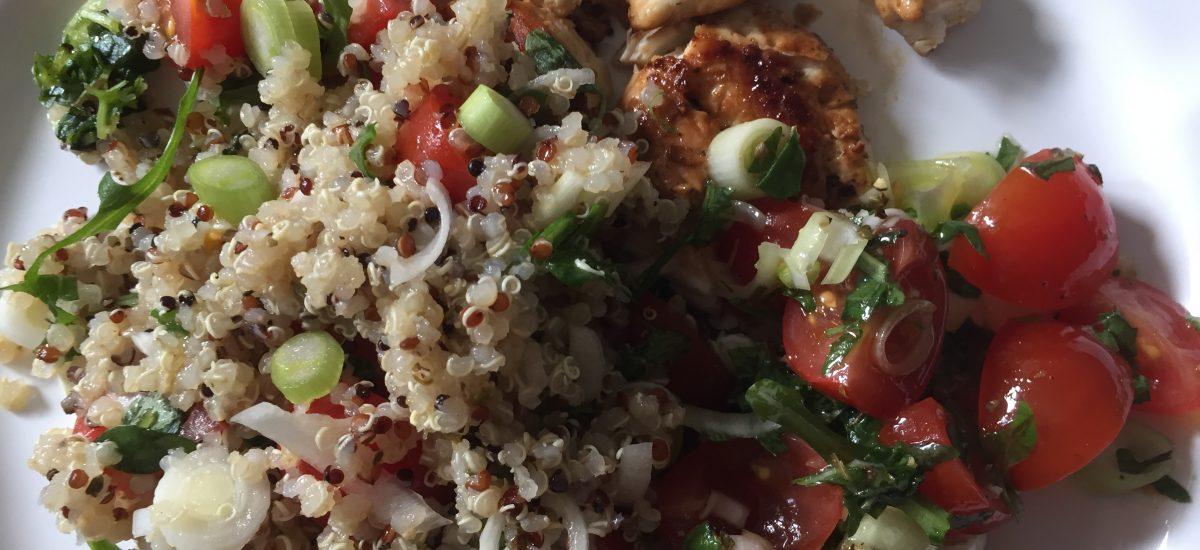 Greek basil quinoa salad + tamari chicken
