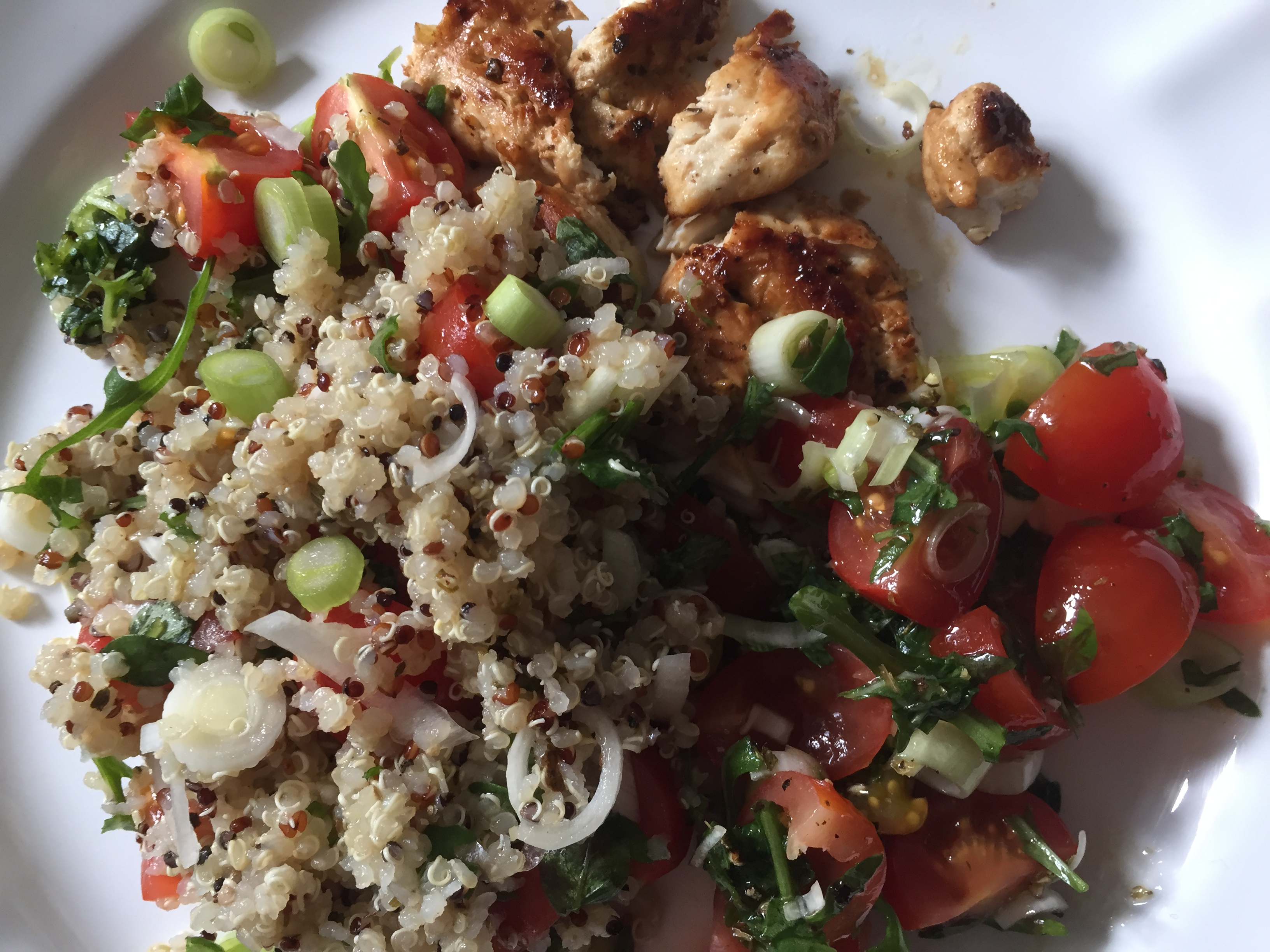 Greek basil quinoa salad + tamari chicken