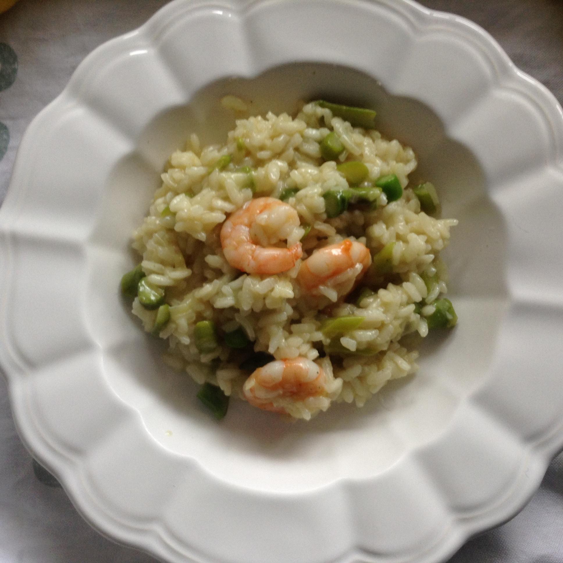 Asparagus & prawns risotto