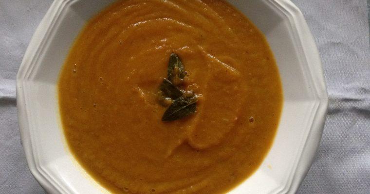 Pumpkin, sage & Serrano ham soup