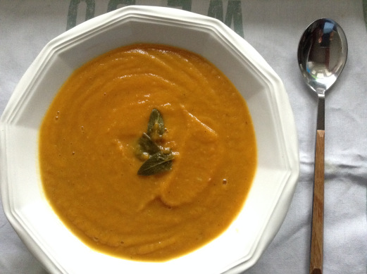 Pumpkin sage Serrano ham soup