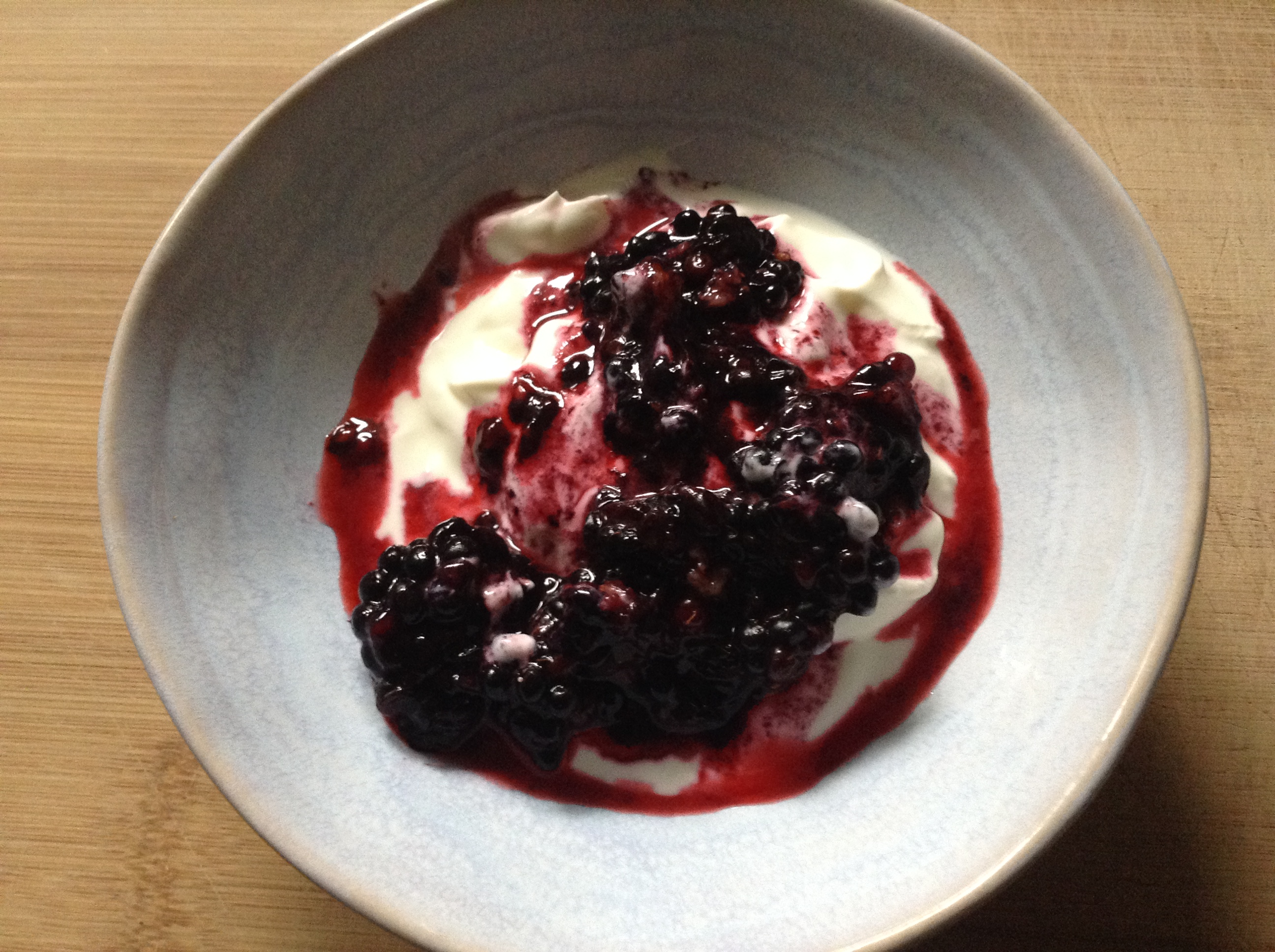 Greek yogurt and blackberries coulis