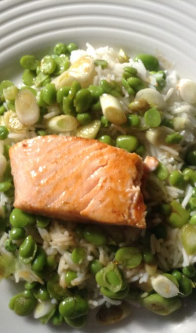 Easy salmon, broad beans, peas and tamari rice salad