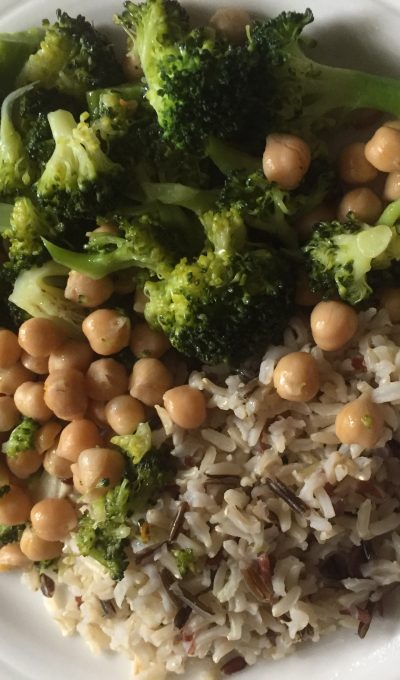 Garlic & chili, broccoli, chickpeas & rice bowl