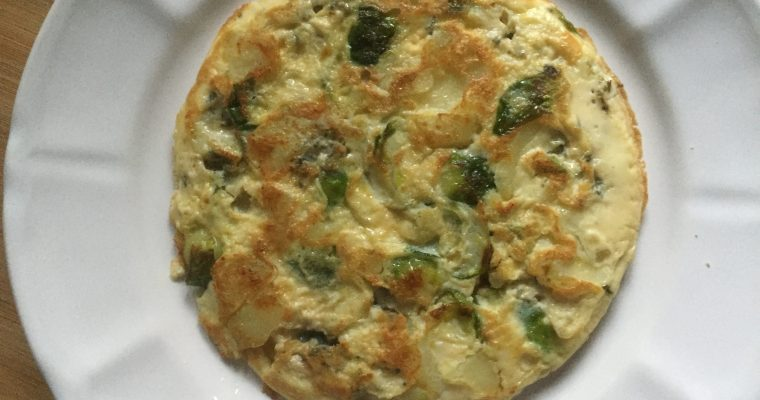 The ultimate Christmas leftover frittata: sprouts, potatoes & Stilton frittata