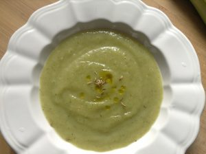 Asparagus, courgettes & celery soup with fennel seeds.