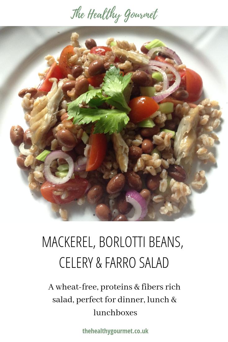 Mackerel borlotti beans farro salad