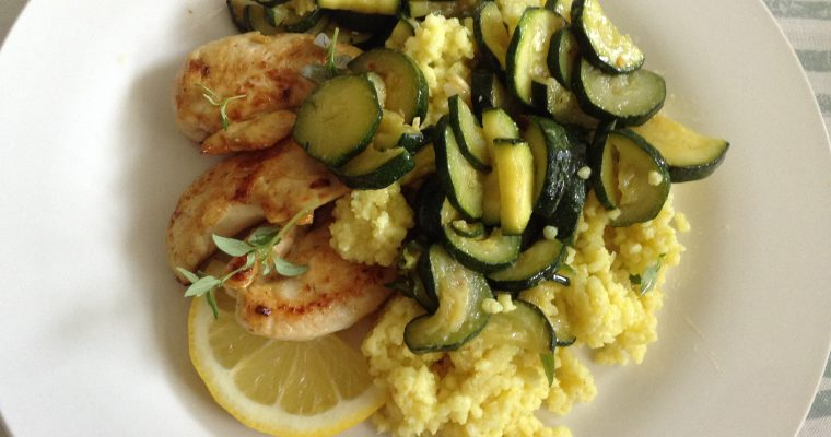 Gluten-free chicken cous-cous and spicy courgettes