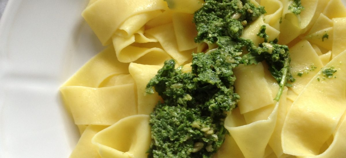 Egg pasta (pappardelle) with lemony walnuts & spinach pesto