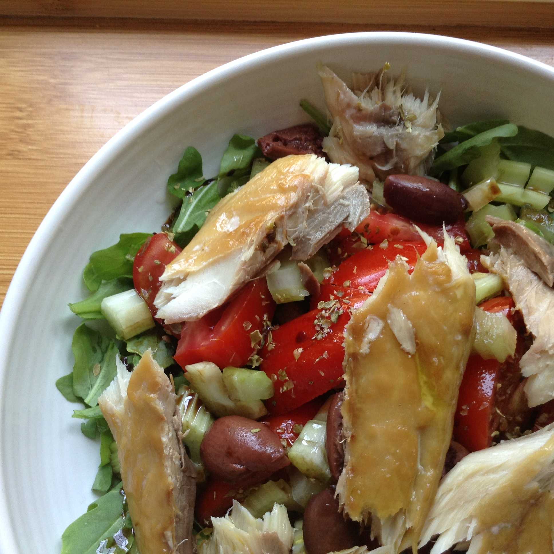 Mackerel rainbow salad