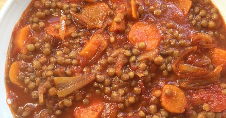 Harissa spiced lentils & carrots stew