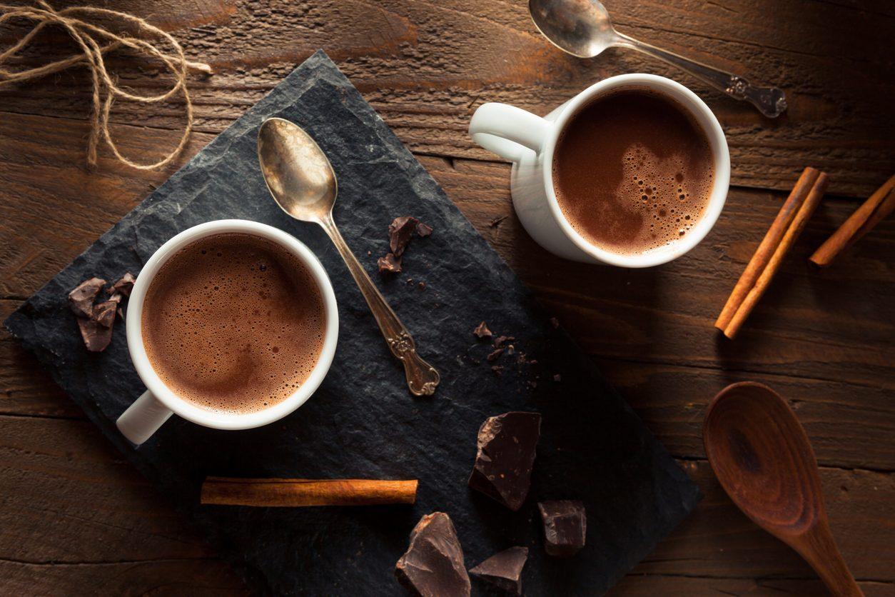 Raw cocoa & cinnamon hot chocolate drink