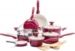 Nonstick red green pan pots and pans set