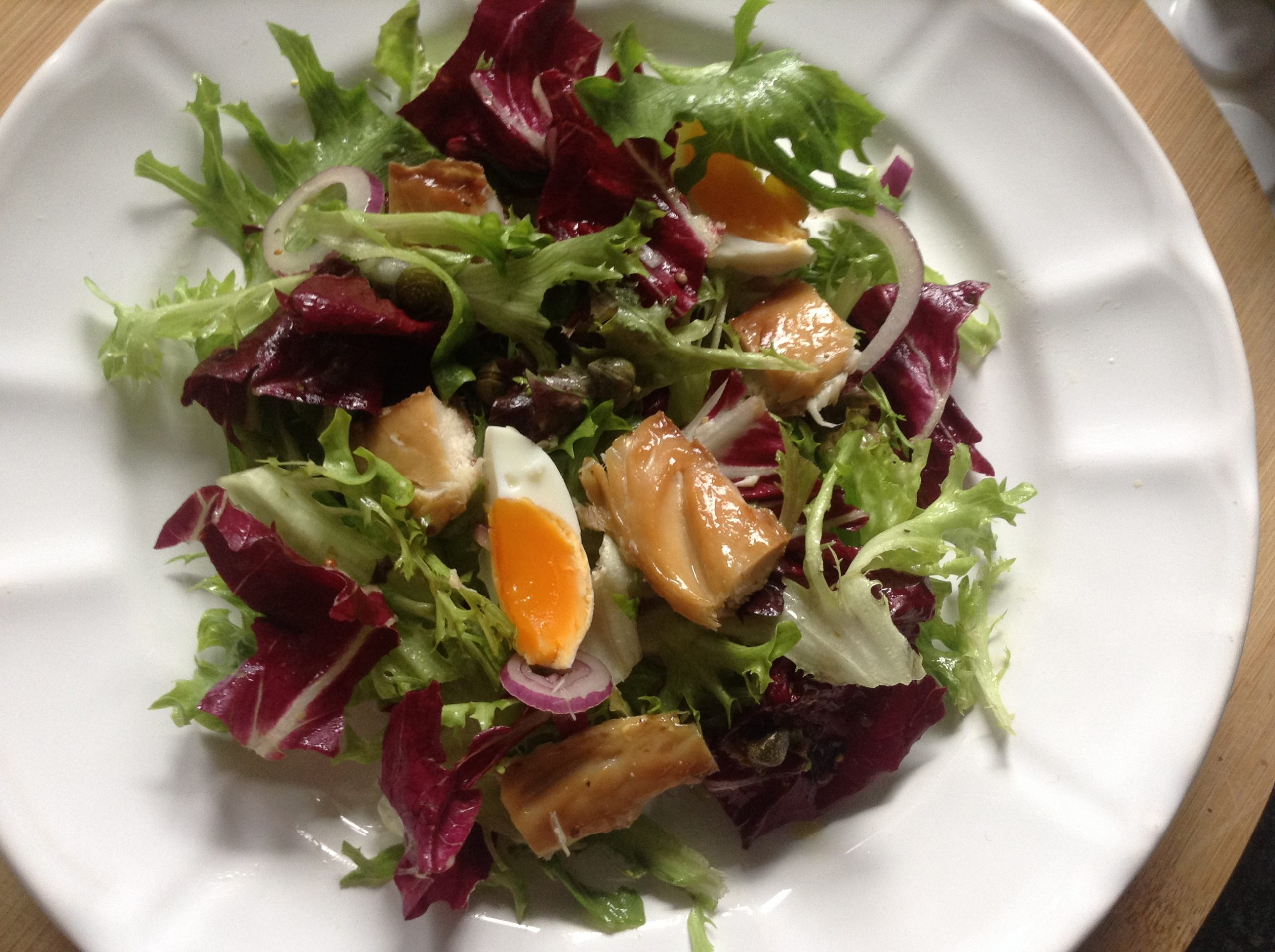 Mackerel, eggs & radicchio salad with red onion and capers vinaigrette