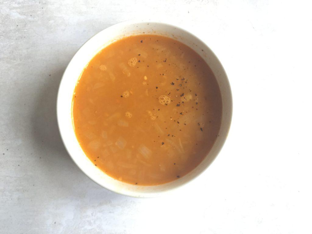 red lentil soup bowl of soup