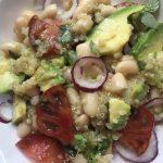quinoa, onions, avocado, cannellini beans, purple tomato salad