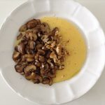 Polenta with mushrooms & crushed walnuts